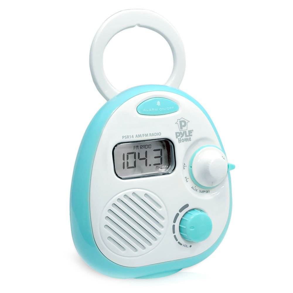 Pyle PSR14 Splash-Proof Water Resistant Mini Digital AM/FM Radio Alarm Clock with LCD Display and 3.5mm AUX Input, Digital