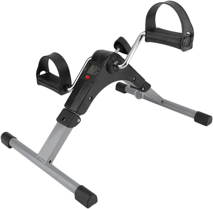 Pedal Exerciser Arm & Leg Exercise Peddler Machine with Electronic Display Fitness Equipment for Seniors and Elderly Gray