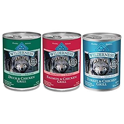 Blue Buffalo Wilderness Grain-Free Wet Adult Dog Food Variety Pack, 3 Flavors, 12.5-Ounces, 6 Cans Total