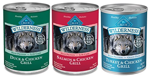 Blue Buffalo Wilderness Grain Free Wet Adult Dog Food Variety Pack, 3 Flavors, 12.5-Ounces Each by Blue Buffalo