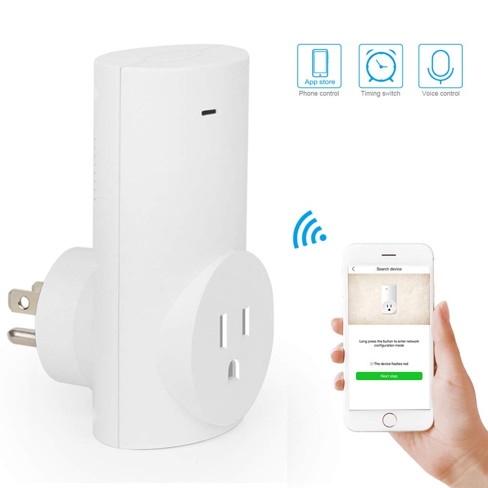 Wifi Smart Plug Mini Smart Outlet Compatible with Amazon Alexa & Google Home,Remote Control by Smart Phone with Timing Function from Anywhere,No Hub Required (Wireless standard Wi-Fi 2.4GHz)