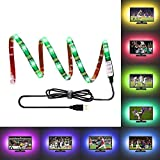 LEBRIGHT LED TV Backlight Bias Lighting Kit, 1.5M (59 Inch) 5V RGB USB Led Strip Powered Multi Color Waterproof Bias Lighting for HDTV, Flat Screen LCD, Desktop PC Monitor
