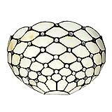 Amora Lighting AM1097WL12 Tiffany Style 1 Light White Wall Sconce Lamp 12-Inch