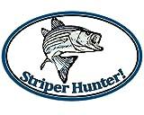 Oval Striper Hunter Sticker (fish fishing decal)