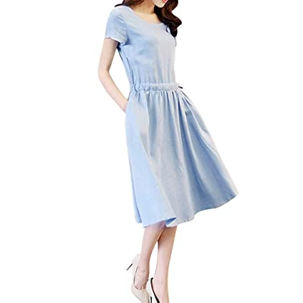 Women Dresses Summer Usstore Women Special Prom Dresses Occasions Evening Swing Casual Dresses (Blue,