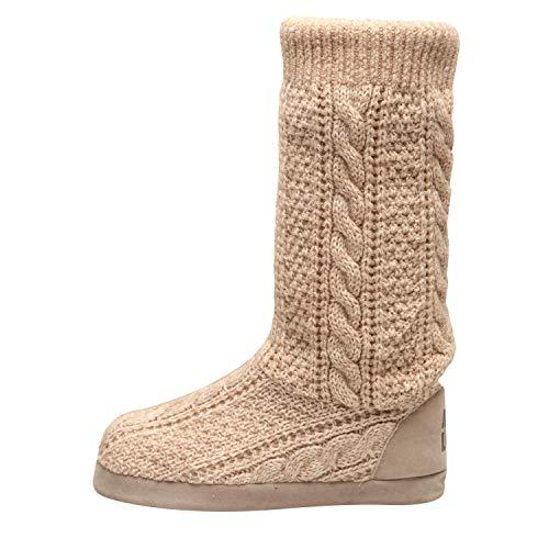 MUK LUKS Women's Vanessa Knit Slipper Slouch Boots Fashion, Ivory, XL