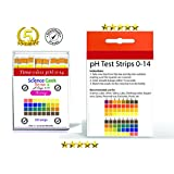 ScienceGeek pH Test Strips for (Research, Health, Labs, Urine and Saliva) with 4 testing panels for increased accuracy: pH Dip Sticks (100 Count, Full pH Range from 0 to 14)