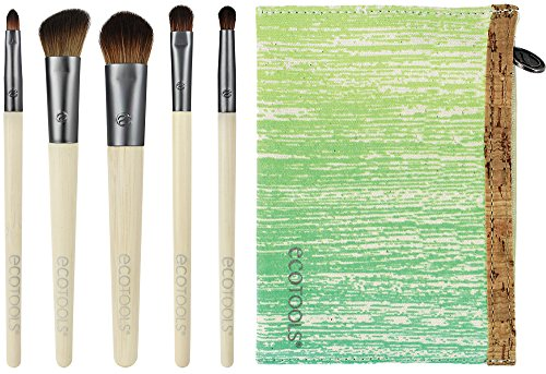EcoTools 6 Piece Essential Eye Brush Set, Includes: Large Shadow, Angled Crease, Petite Eye Shading, Liner Smudge and Eye Liner Brushes, and Cosmetic Bag, Cruelty - Essential Eye Collection