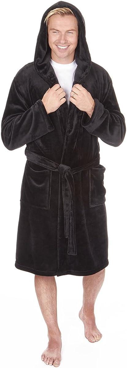 Sizes M-2XL Pierre Roche Mens Fleece Hooded Robe Winter Dressing Gown