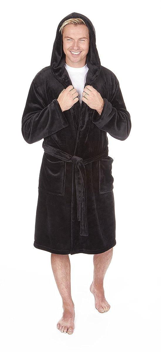 CABALLEROS Suave Con Capucha Franela Vestido De Lana bata Negro Azul Marino O Gris Tallas M L XL 2xl 3xl 4xl 5xg