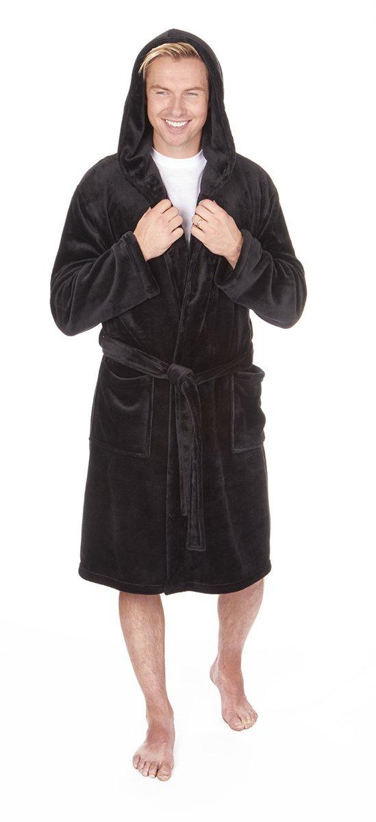 CABALLEROS Suave Con Capucha Franela Vestido De Lana bata. Negro, Azul Marino O Gris