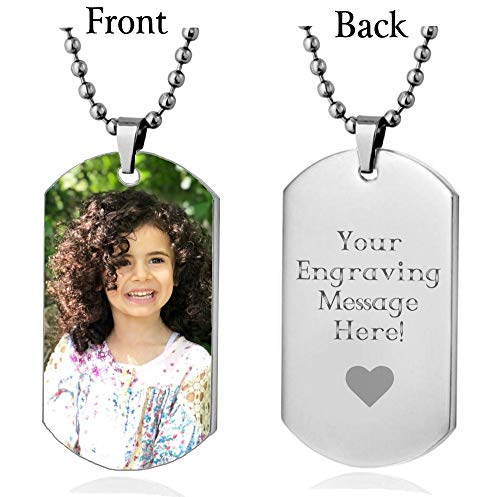 Interway Trading Personalized Custom Photo High Polished Color Engraved Dog Tag Necklace Pendant and 24 inch Stainless Steel Chain, Velvet Giftpouch and Keyring ()
