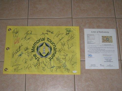 - Tiger Woods signed 2013 Memorial Tournament Logo Group Golf Flag with 34 Autographs (JSA Letter)