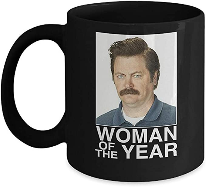 Ron Swanson Woman of The Year Mug (Black) - This 11oz ...
