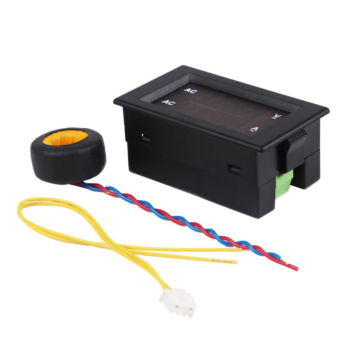 MakerHawk 2pcs Medidor de Voltaje Actual de CA de Pantalla Dual Digital Pantalla LED de 0.39 Pulgadas Medici/ón de 100V ~ 300V 0~9.99A Probador de volt/ímetro Digital con Transformador de Corriente CT