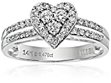 ELLE Bridal Diamond Rhodium Plated 14k White Gold Heart Promise Engagement Ring (1/2 cttw, I-J, I1-I2), Size 8