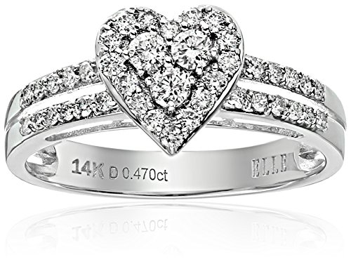 ELLE-Bridal-Diamond-Rhodium-Plated-14k-White-Gold-Heart-Promise-Engagement-Ring-12-cttw-I-J-I1-I2-Size-7