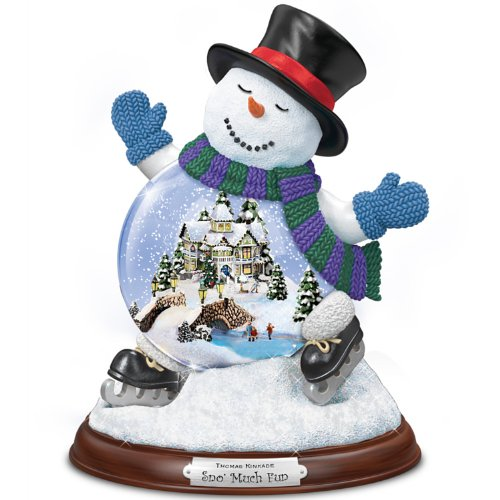 Thomas Kinkade Sculpted Village Inside A Snowman Snowglobe: Sno' Much Fun by The Bradford Exchange