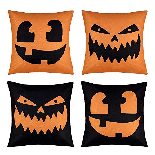 Zipper On Face For Halloween (peony man Happy Halloween Pillow Covers Cotton Linen Pumpkin Pillow Case with Halloween Pumpkin Smiley Face Printed for Home Party Decoration Supplies, 18 x 18)