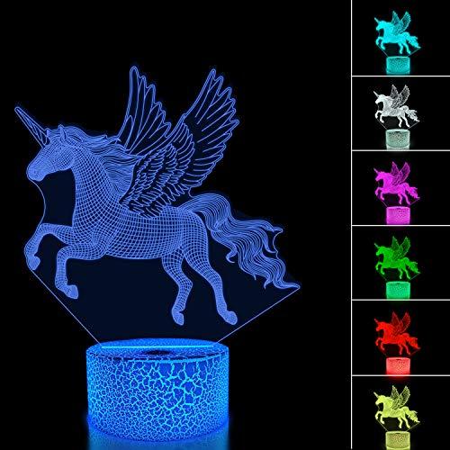 decoraci/ón del hogar dise/ño de unicornio para habitaci/ón de ni/ños L/ámpara LED de proyecci/ón de unicornio 3D regalos de cumplea/ños con 7 colores cambiantes Unicorn 3 FULLOSUN