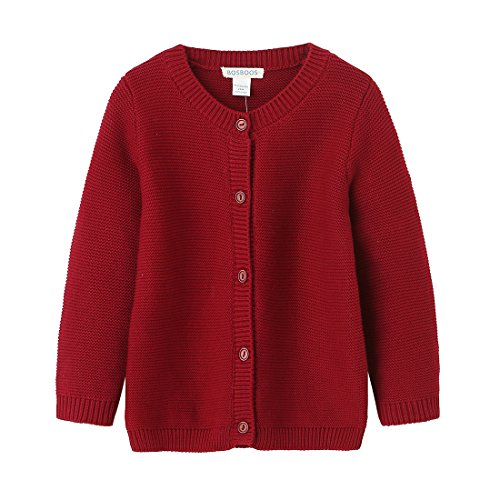 BOSBOOS Baby Boys Girls Toddler Solid Cotton Cardigan Sweater For Winter (3t, (Toddler Girls Red Sweater)