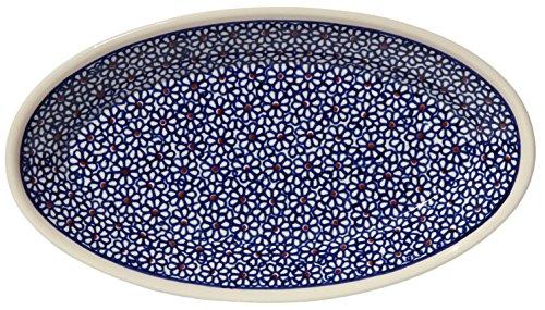 Polish Pottery Oval Serving Platter From Zaklady Ceramiczne Boleslawiec 1103-120 Classic Pattern, Dimensions: 11 Inch X 6.25 Inch ()
