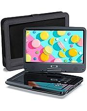SUNPIN Draagbare dvd-speler met 10,5 inch HD draaibaar scherm, stereo luidspreker en dubbele hoofdtelefoonaansluiting, ondersteuning Sync TV/USB/SD-kaart, autohoofdsteunhouder, zwart