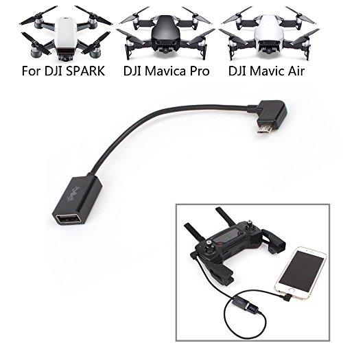 Cable remoto DJI Spark / Mavic Pro, cable de transferencia de datos portátil Cochanvie Cable corto para controlador remoto...