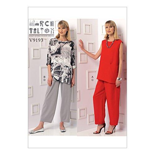 (Vogue Patterns V9193F50 Misses' Sleeveless Or Dolman Sleeve Tunics Pants with Yoke, 16-18-20-22-24,)