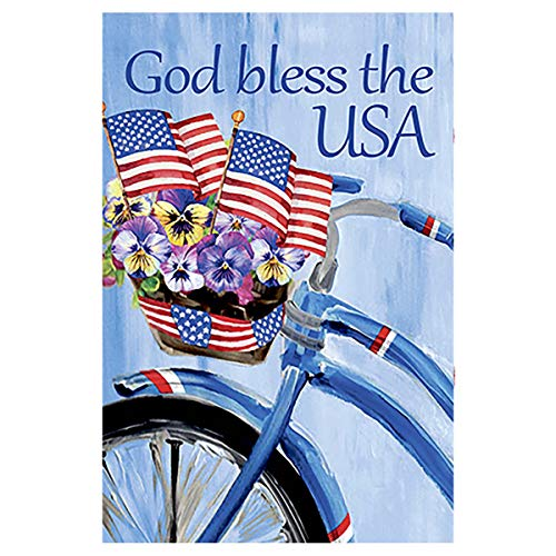 Morigins Patriotic Floral Bicycle Garden Flag Bike Double Sided God Bless The USA Decoration 12.5 x 18 Inch