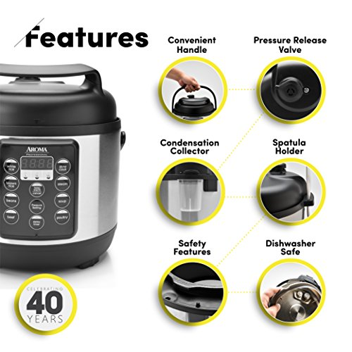 Aroma Housewares (APC-816SB Professional Pressure Cooker, 12-Cup (Cooked), Black by Aroma Housewares (Image #2)