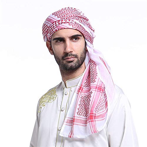 Arab Keffiyeh Adult Men's Turban Thick Muslim Hijab Shemagh Polyester Middle East Arafat Scarf Tactical Desert 55' (Red)