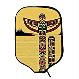 YOLIYANA Native American Durable Racket Cover,Illustration of North American Totem Pole Ancient Spirit Native Artsy for Sandbeach,One Size