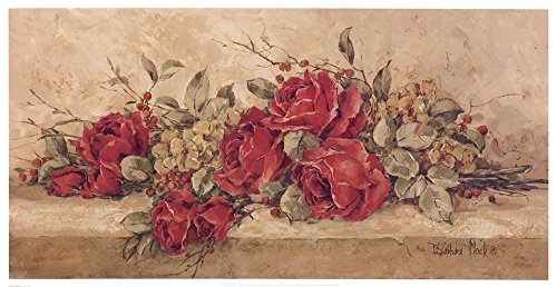 Barbara Mock Roses - Roses To Remember by Barbara Mock Art Print, 33 x 17 inches