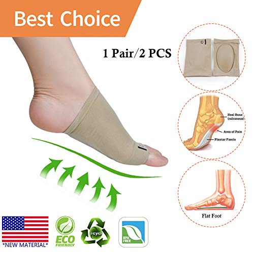 Arch Support *New Material* Arch Compression Sleeves/Socks with Comfort Gel Pad,Best for Plantar Fasciitis & Flat Feet/Foot, Pain Relief, for Men & Women (2 Pair)