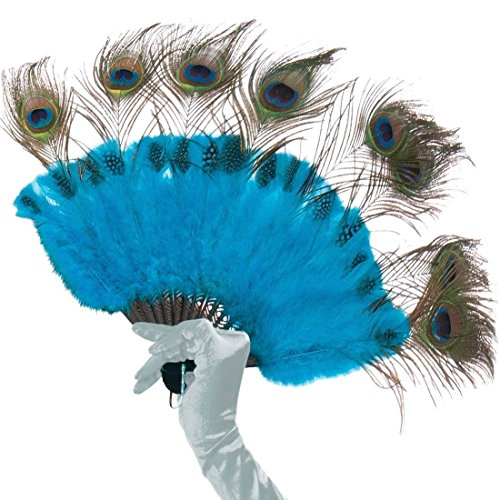 Adult Peacock Tail Fan (Forum Novelties 75158 Tail Feather Handheld Fan, Peacock)