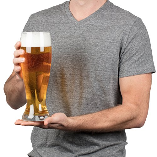 (Oversized Extra Large Giant Beer Glass - 53oz - Holds up to 4 Bottles of Beers)