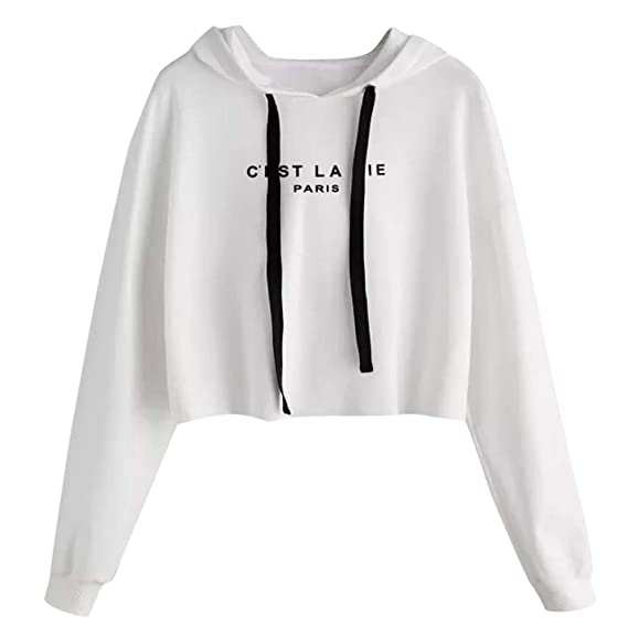 Amazon.com: Inkach Crop Tops Hoodies, Womens Letters Printed Long Sleeve Hooded Sweatshirt Pullover Blouse Shirts (L, White): Office Products