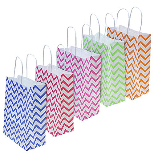 HTIANC Paper Treat Sacks 20 Pieces Stripe Favor Bags with Handle 22 * 16 * 8cm Paper Stripe Bags for Arts & Crafts Birthday Wedding Party Celebrations - 5 Ripple Colors