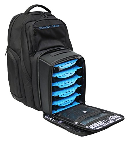 2129d1256e 6 Pack Fitness Expedition Backpack W  Removable Meal Management System 500  Black Neon Blue