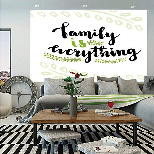 SoSung Family Wall Mural,Cute Lettering Family is Everything Motivaonal Phrase Branches Leaves,Self-Adhesive Large Wallpaper for Home Decor 83x120 inches,Apple Green Black White]()