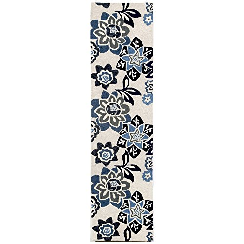 Liora Manne Ravella 2180/03 Floral China Blue Area Rug 24 Inches X 8 Feet