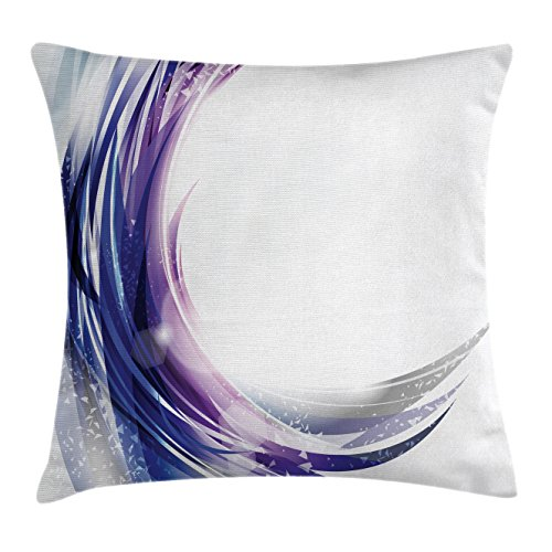 Abstract Throw Pillow Cushion Cover by Ambesonne, Cool Artistic Wave like Ombre Design with Vibrant Color Dots Artwork, Decorative Square Accent Pillow Case, 16 X 16 Inches, Purple Blue and White Artistic Waves