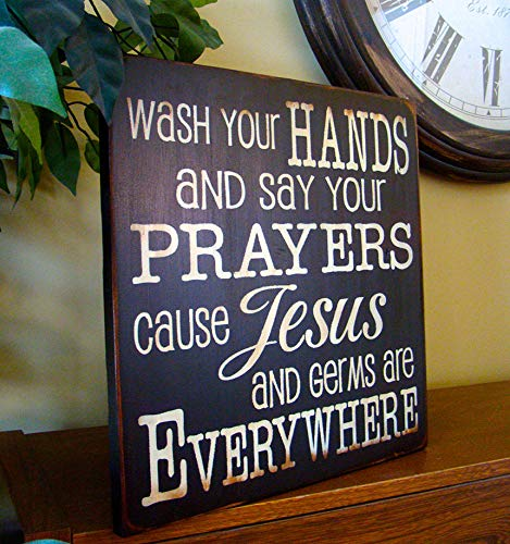 Olga212Patrick Wash Your Hands Say Your Prayers Wooden Primitive Hand Plaque Printed Wood Sign Sign