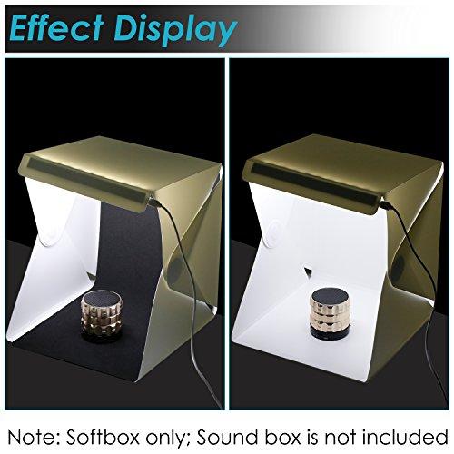 Neewer luz LED mesa Lightbox–carga USB plegable portátil de estudio de fotografía, caja de fotografía iluminación de estudio con blanco y negro fondos para fotografía de frutas, joyas y objetos pequ