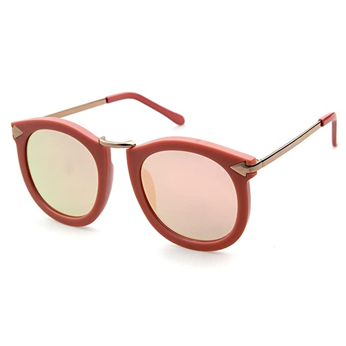 Yiwa Mode UV400de luxe Lunettes de soleil Mode Style vintage Eyewear, Black Frame Tea And Blue Lens