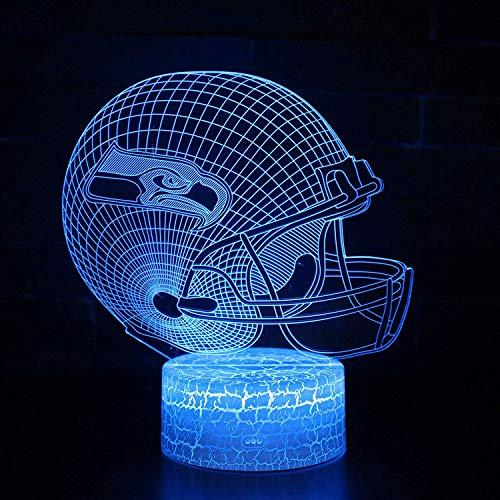 Bigfoot 3D LED Night Light Football Helmet Seattle Seahawks Flat Acrylic Illusion Lighting Lamp with 7 Colors and Touch Sensor, Sports Fan Nightlight Gift for Kids, Boys, Girls, Men or Women