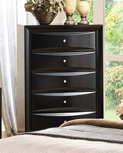 Briana 5-Drawer Chest Black