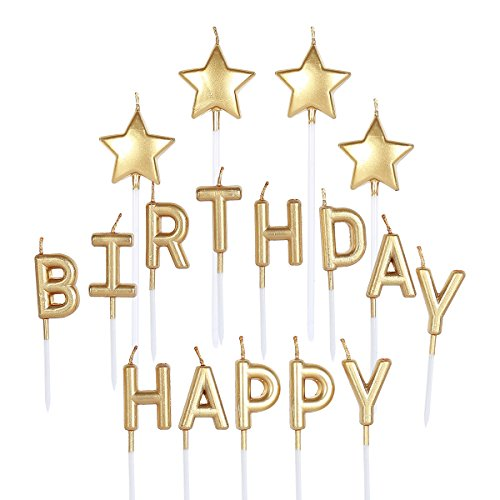 pinkblume Gold Happy Birthday Star Candle Cake Toppers Metallic Happy Birthday Letters Cake Candles for Kids Birthday Party Decorations Adults Birthday Party Supplies