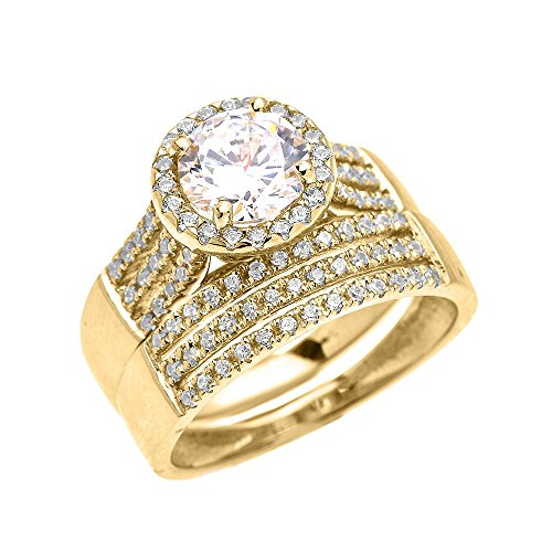 14k Yellow Gold 3 Carat Round Micro Pave Halo Modern Engagement And Wedding Ring Set (Size 11.25)